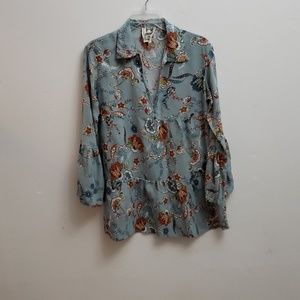 Jaase boho top bell sleeve medium floral